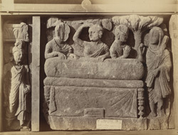 Sculpture slab from Nullah, Sanghao, Peshawar District: the worship of Buddha's coffin